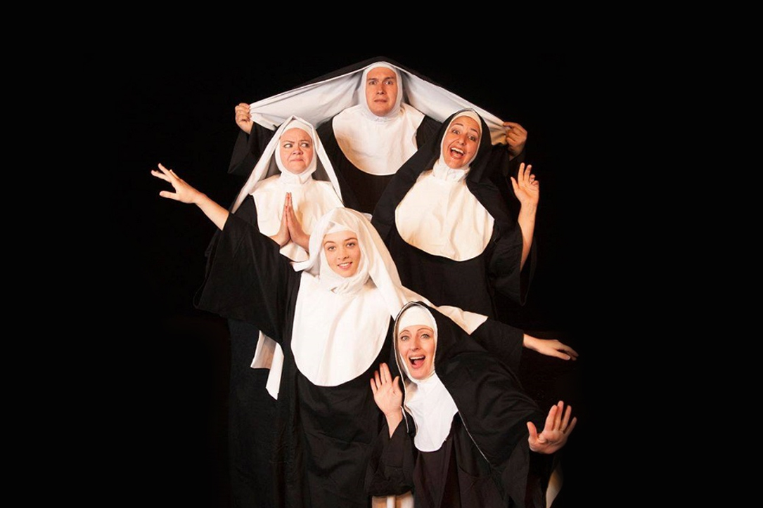 Actors portraying silly nuns in variety show nunsense
