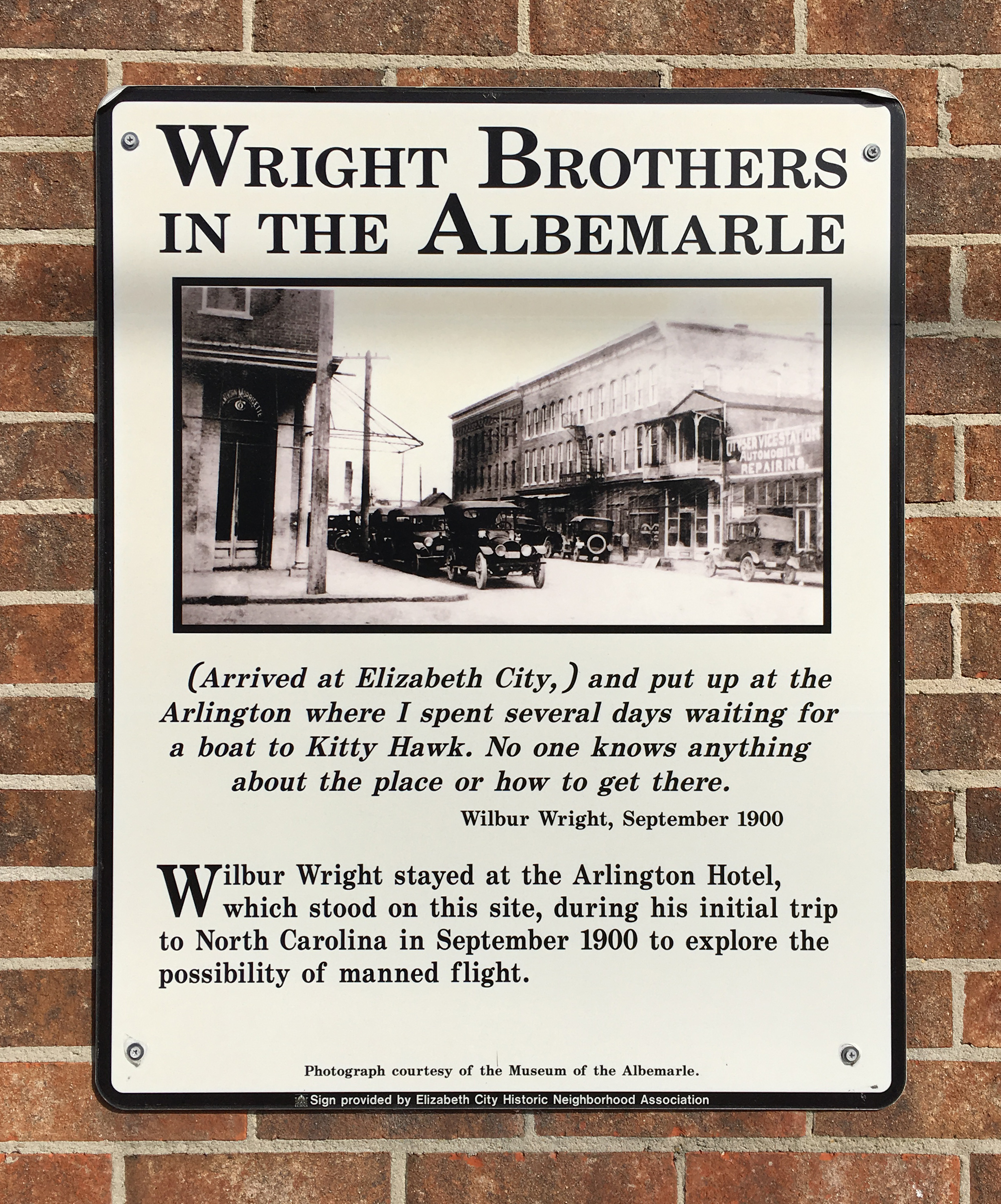 Elizabeth City Aviation Trail wright brothers sign