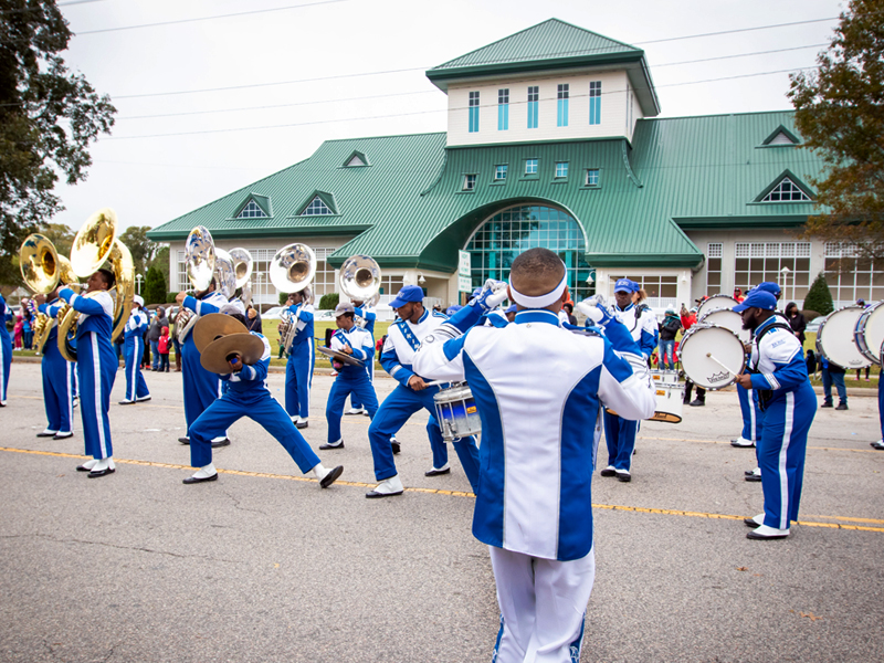 ECSU Homecoming Parade in front of museum of the albemarle