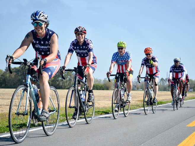 bicyclists wearing american attire during TarWheel Cycling Event