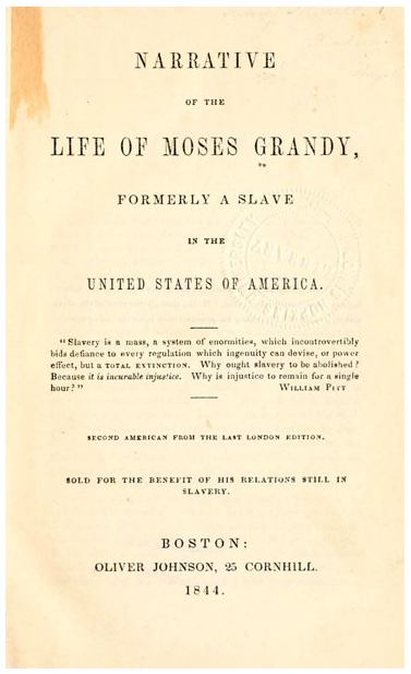 Narrative of the life of Moses Grandy