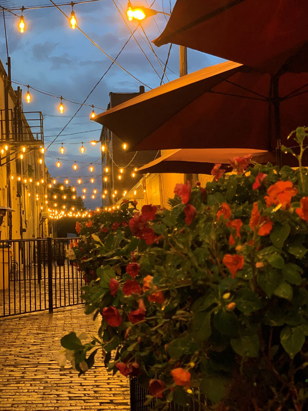 renovated alleyway with yellow edison lights and decorative flowers