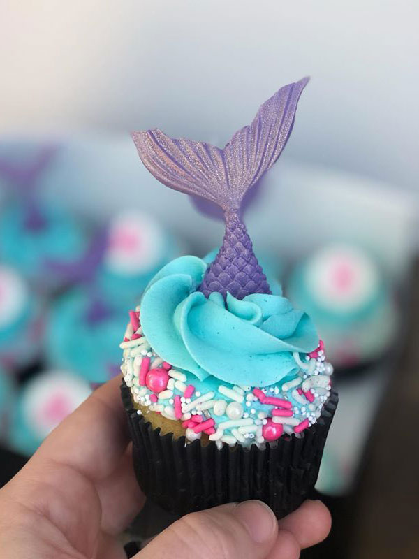 cute pink and blue cupcake with mermaid tail
