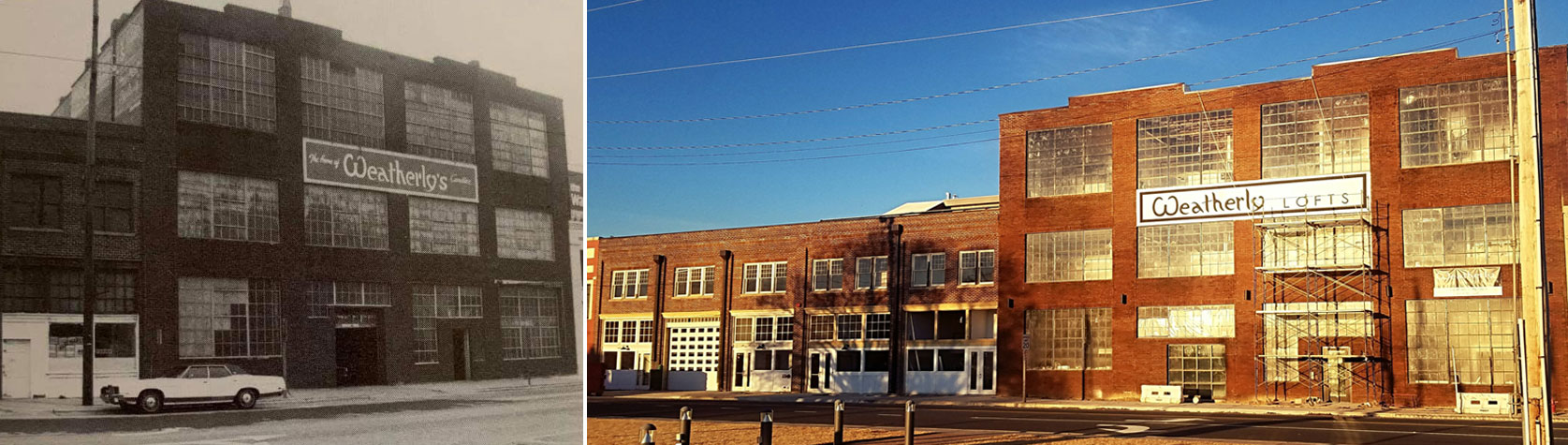 Weatherly Lofts before and after historic photo