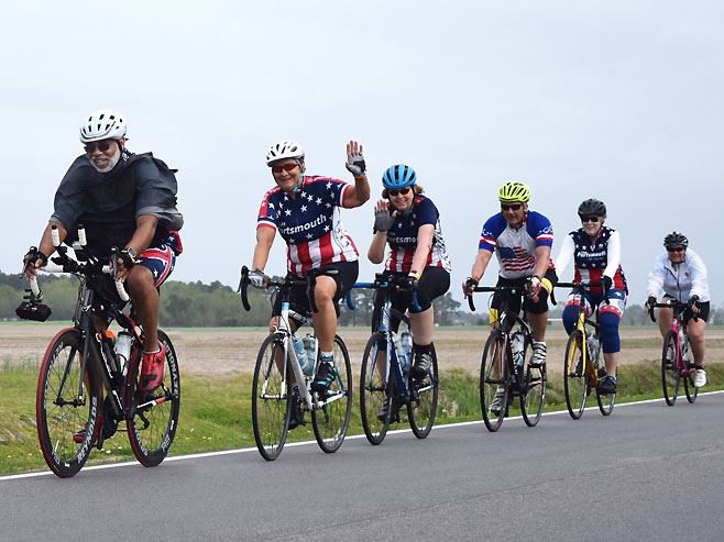 bicyclists in TarWheel Cycling Event
