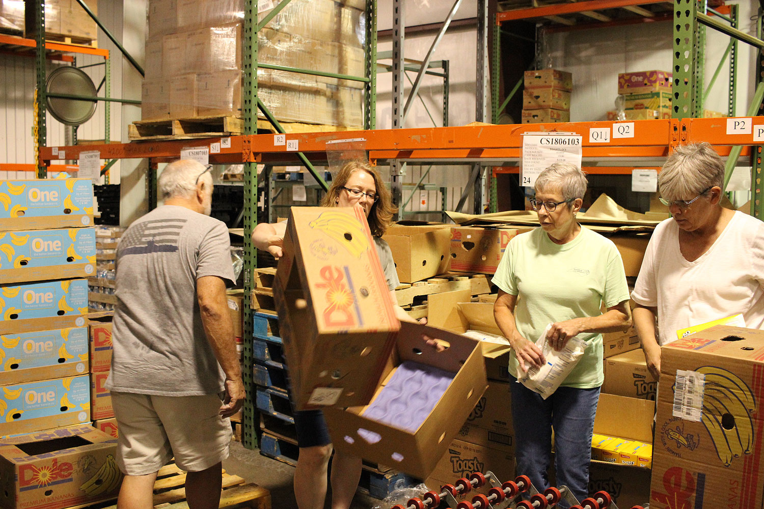 Maureen Donally working with the Food Bank of the Albemarle