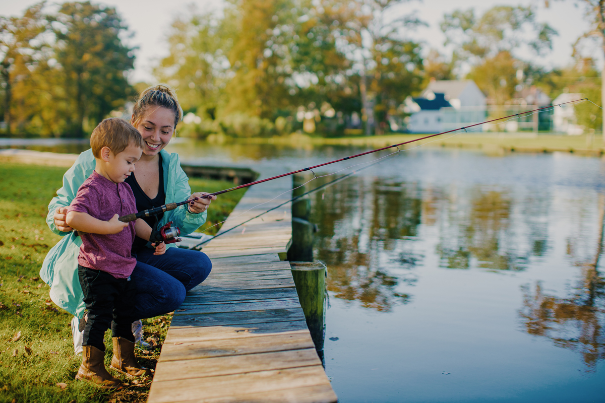 little boy and mom fishing in the Pasquotank River, Elizabeth City