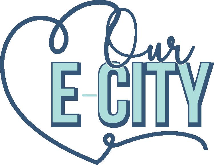 two tone blue logo, our e-city