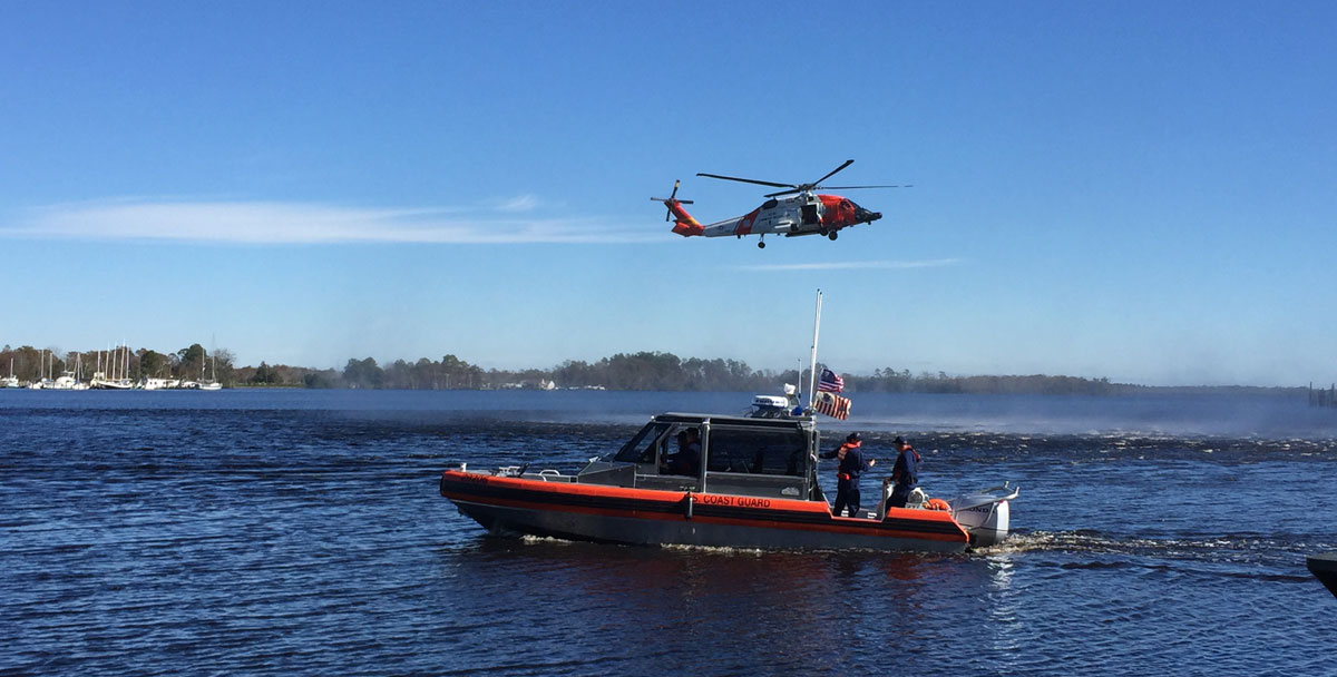 Coast Guard rescue demonstration with helicopter and boat on the Pasquotank River