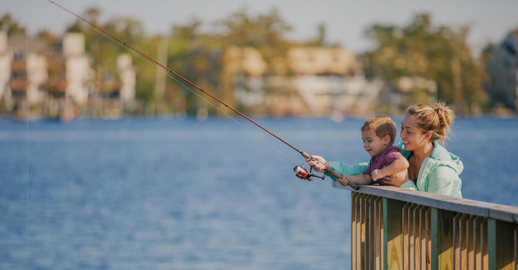 mother son fishing at pasquotank river