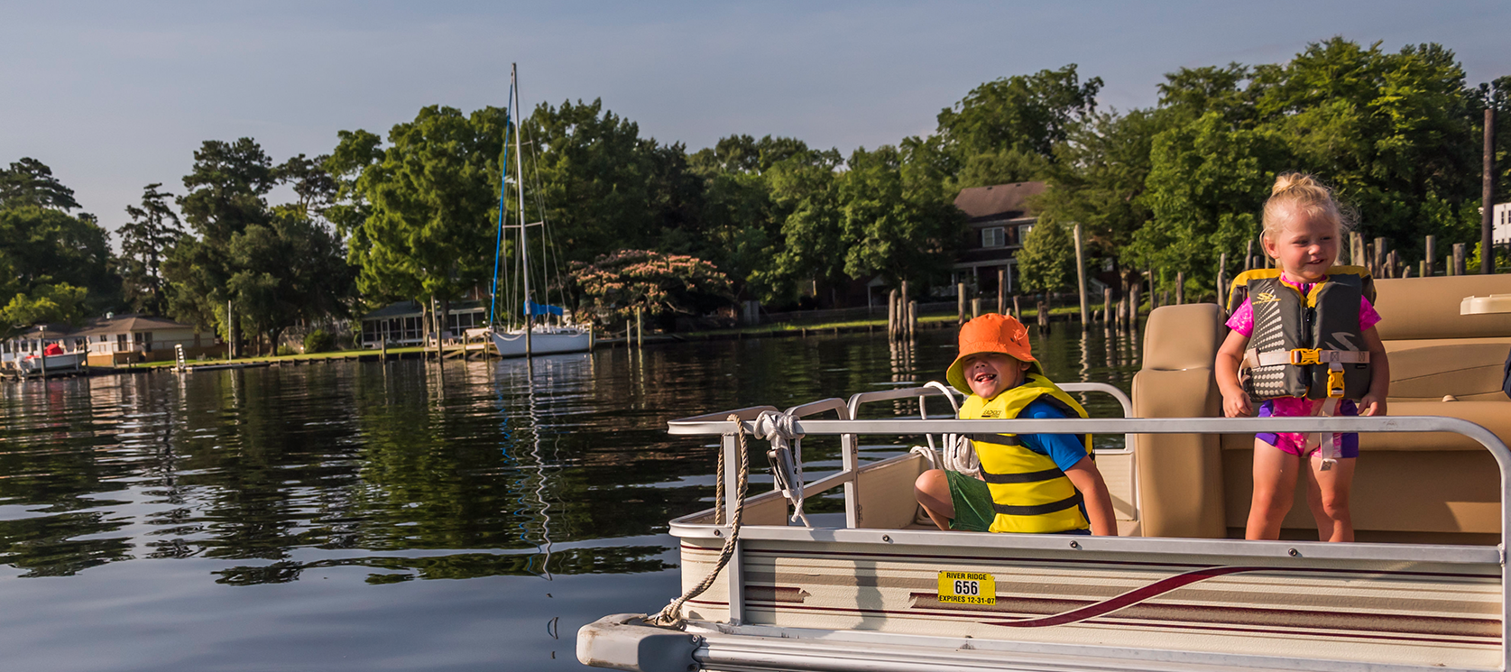 Family fun on the Pasquotank River on a boat