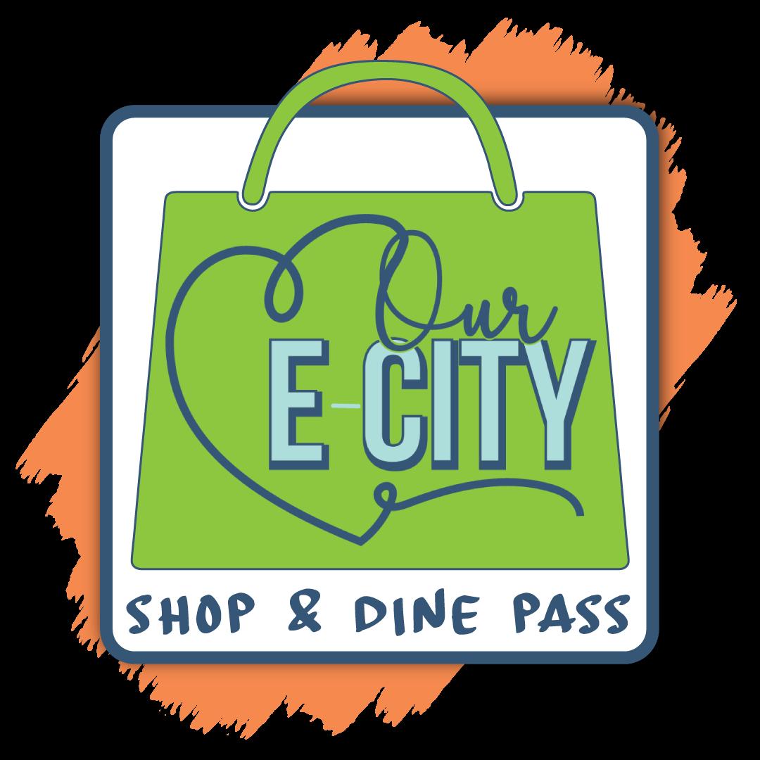 Our E-City shop & dine pass logo