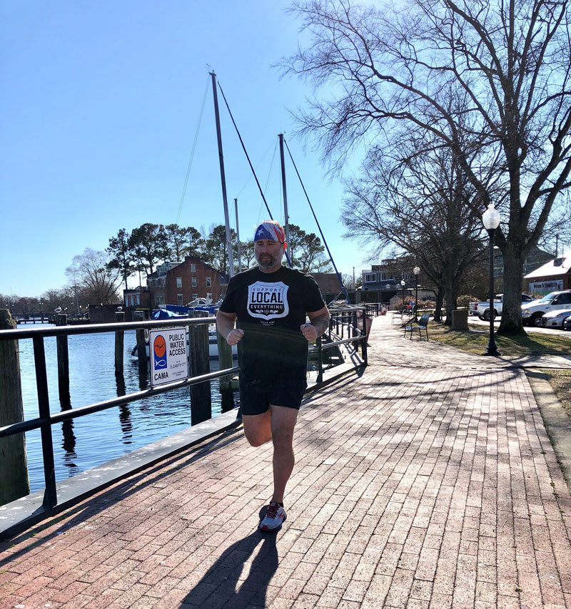 Donnie Markham training for coast guard half marathon at mariners' wharf park, Elizabeth City, NC
