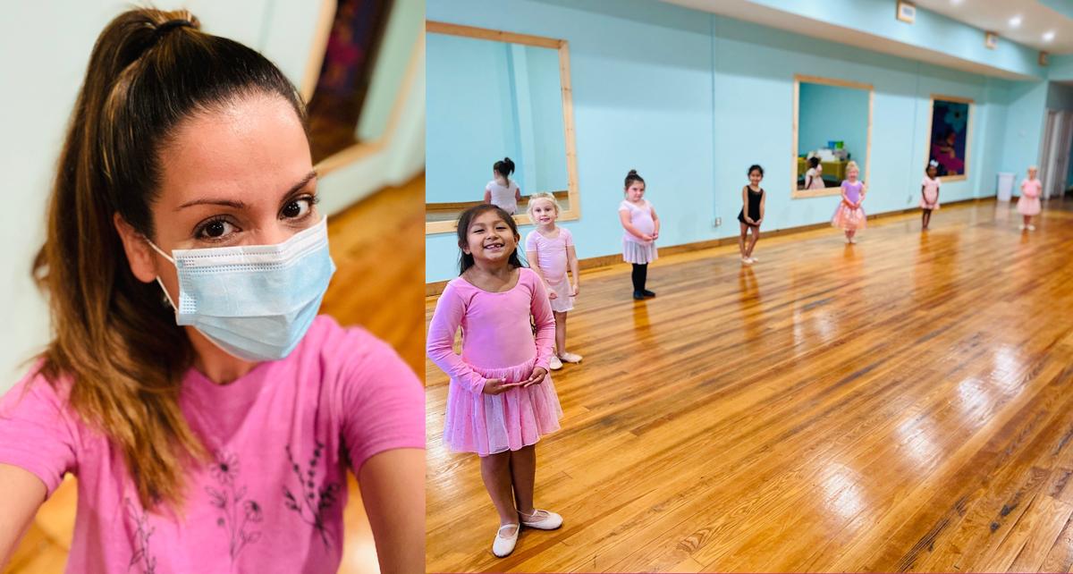 zaribel kinderdance classes, wearing face mask, socially distanced