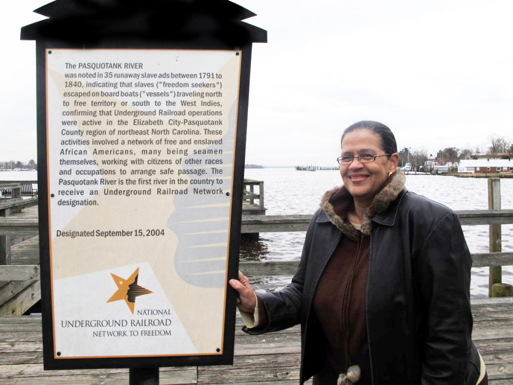 National Underground Railroad Network to Freedom designation sign on the Pasquotank River