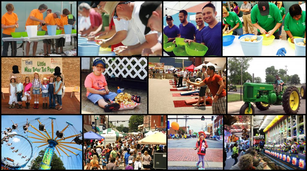 collage of people having fun at north carolina potato festival
